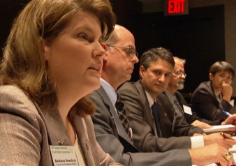 """Those who have seen """"Food, Inc."""" may recognize this scene featuring Barb Kowalcyk campaigning for safer food at the National Food Policy Conference."""