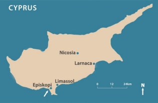 Map of Cyprus, showing the location of the dig