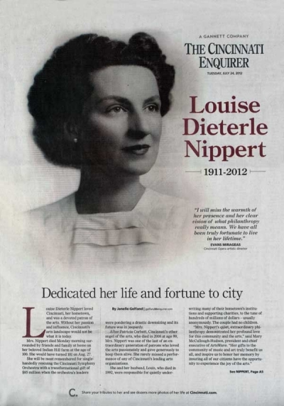 Louise Nippert's obituary covers the front page of the Cincinnati Enquirer