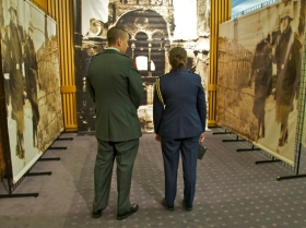 Rolat's touring exhibit contained life-sized images of Czestochowa's synagogue, which the Nazi's destroyed.