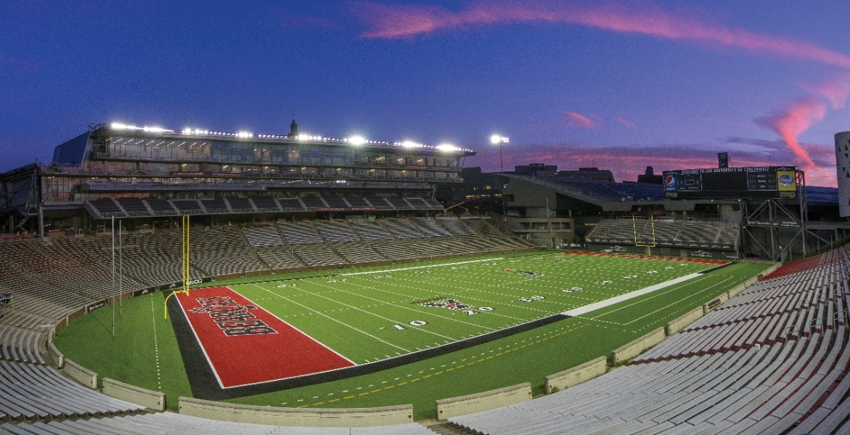 The University of Cincinnati football venue, Nippert Stadium at sunset.