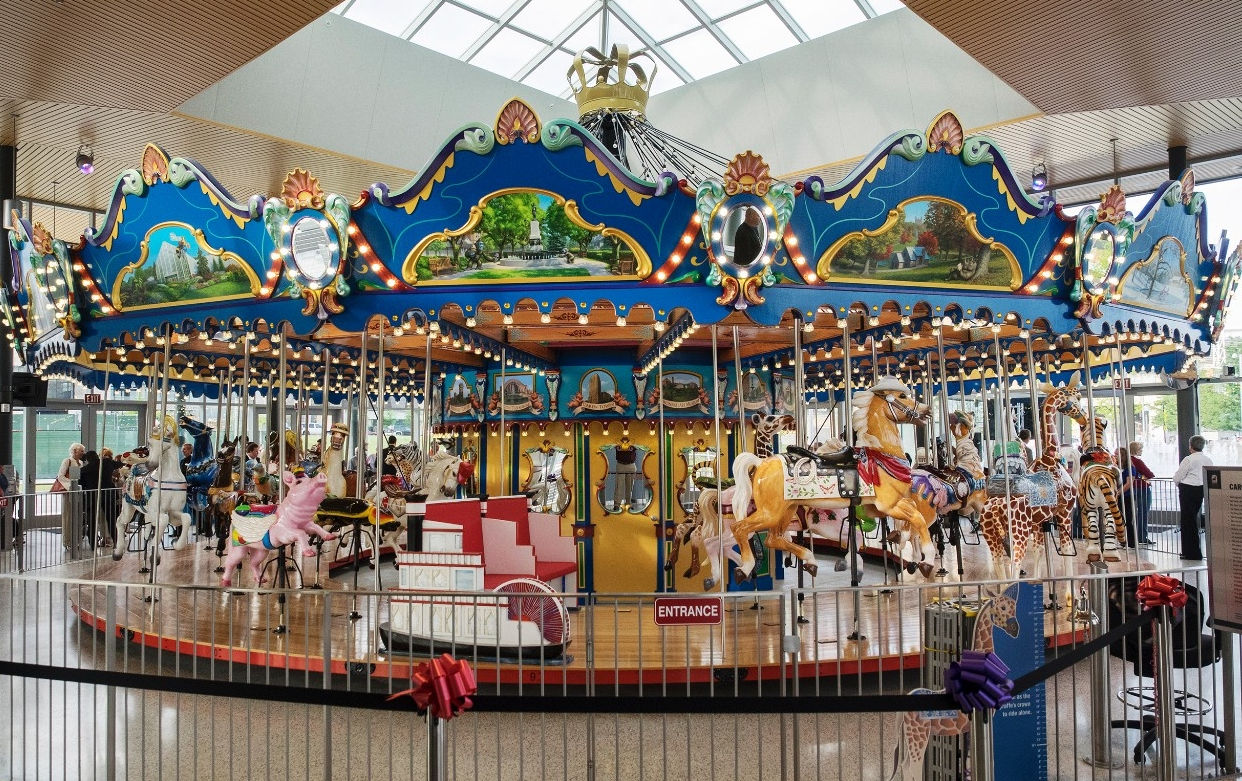 The brightly colorful new carousel at Cincinnati's Smale Riverfront Park