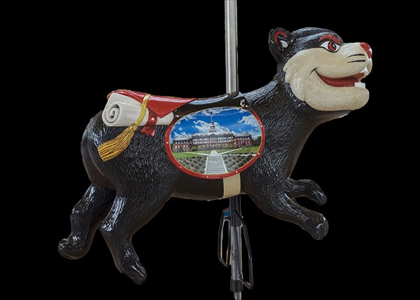 A carousel figure in the shape of the University of Cincinnati mascot, a Bearcat.