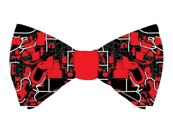 A bow-tie design by a University of Cincinnati student is the school colors, red and black, and takes elements of the campus's map.