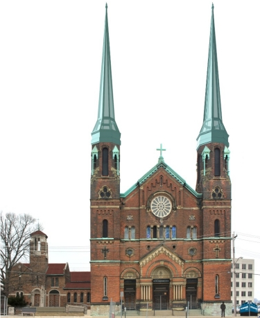 An artist's rendering of an revamped old church, Cincinnati's Old Saint George church in Clifton