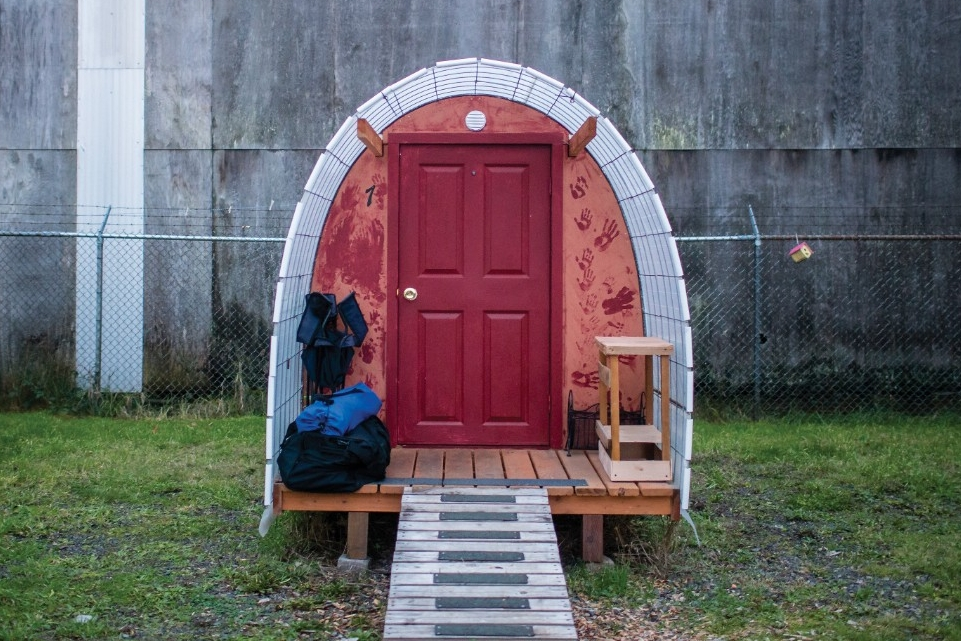 One of many tiny houses built by a University of Cincinnati alum to help Oregon's homeless get off the streets.