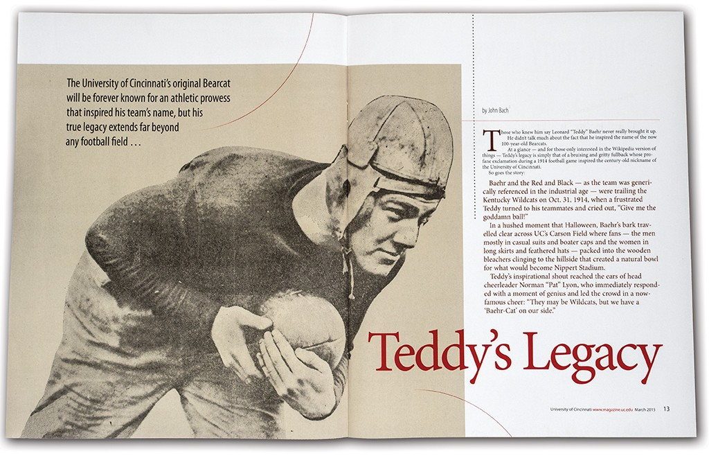 A spread from March UC Magazine shows Teddy Baehr carrying football.