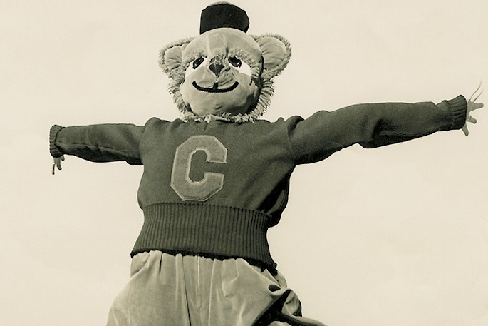 Bearcat Mascot from 1950s leaps into air.