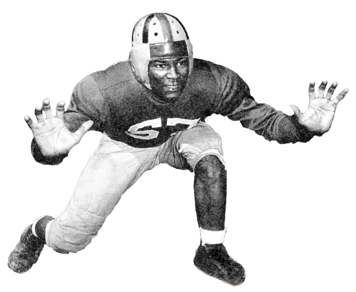 Will Stargel in a football stance in 1940s.
