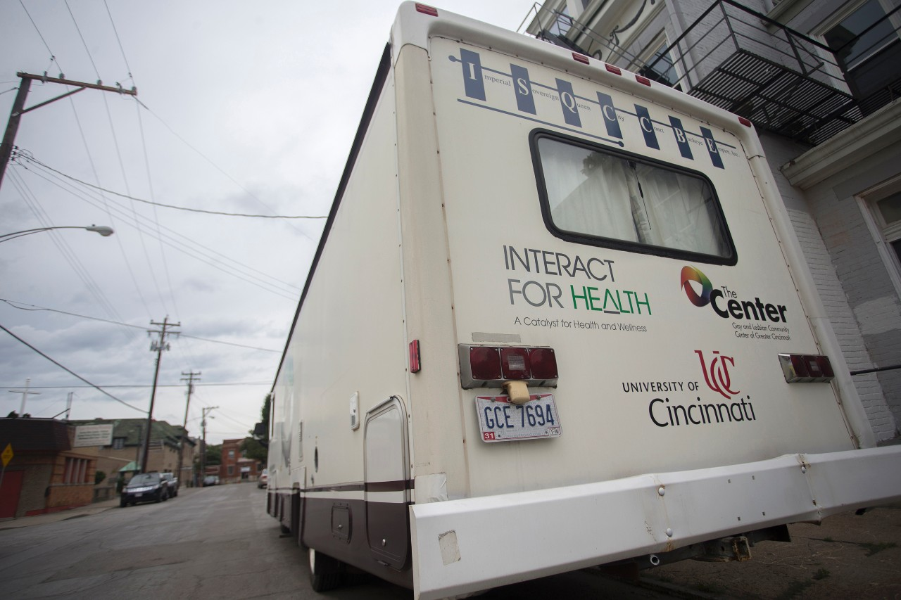 A rear view of the Cincinnati Needle Exchange RV.