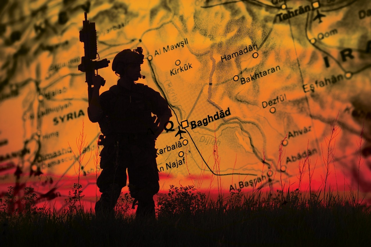 The silhouette of a soldier across the backdrop of a map in blazing orange.