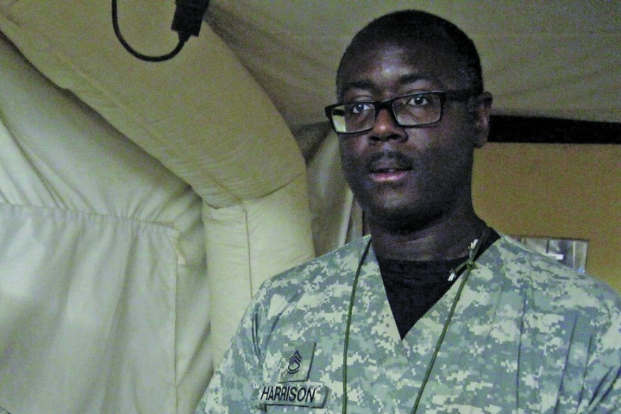 Terence Harrison in his military camouflage while in Iraq.