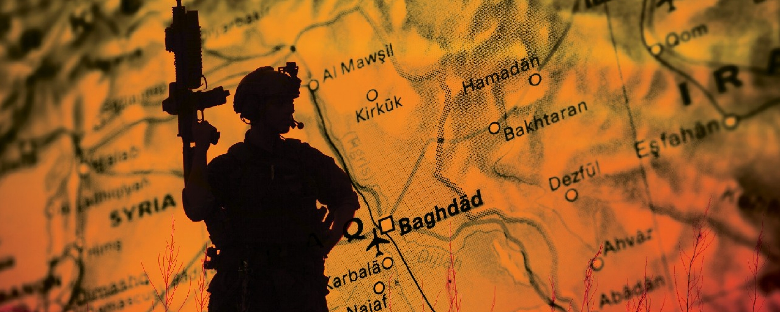 Graphic depicts a soldier in front of a map of Iraq.
