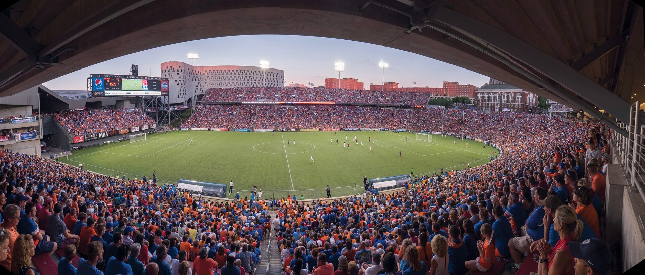 A sold out crowd at Nippert Stadium takes in an FC Cincinnati game vs. Crystal Palace on July 16, 2016.