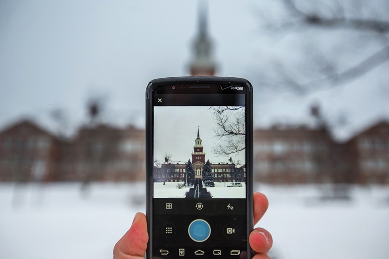 Winter image of McMicken Lawn on a cell phone