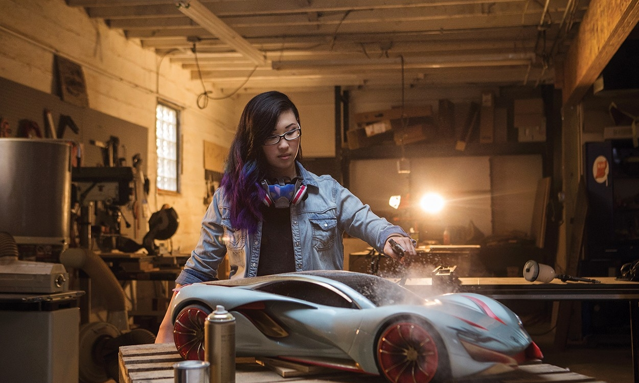 Connie Kim works on car prototype