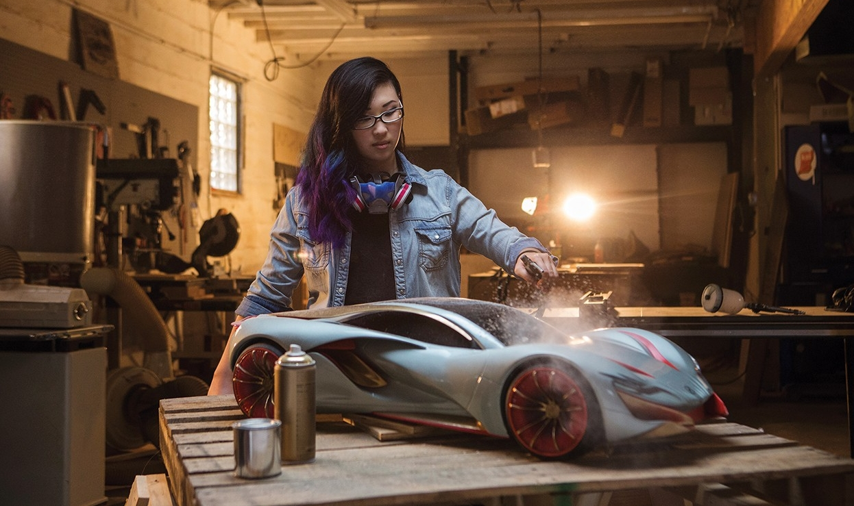 UC student Connie Kim works on her automotive prototype
