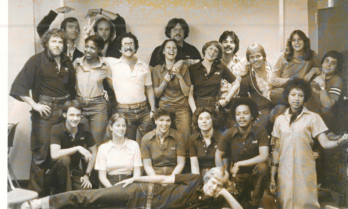 Group photo of Sander Hall resdents in '70s