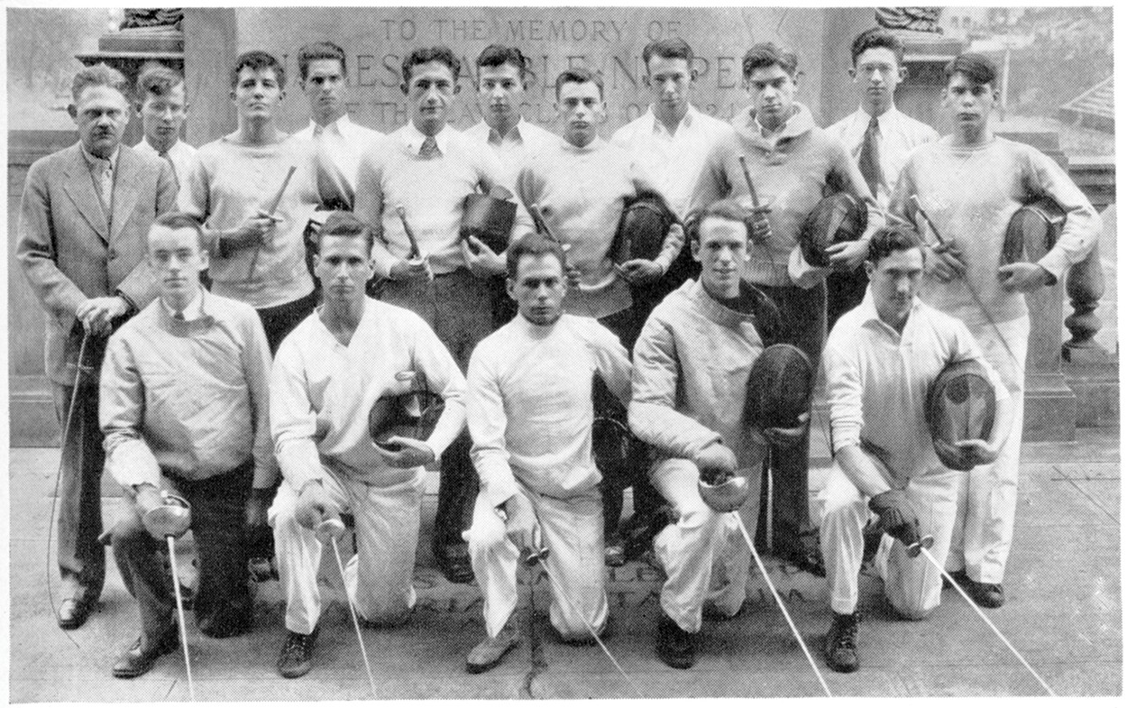 The UC Fencing Club photo from the 1931 yearbook includes Robert Hixon
