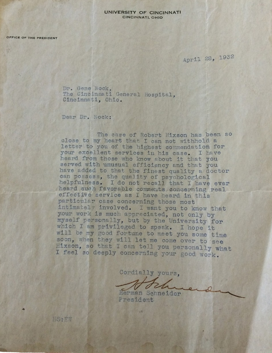 A 1932 letter from UC president and co-op founder Herman Schneider.