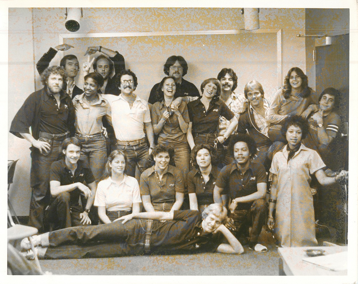 A group photos of Sander Hall residents from the 1970s