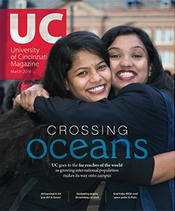 Cover of the University of Cincinnati magazine March 2016 edition