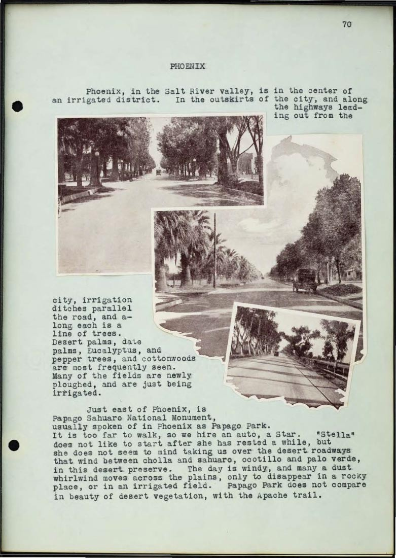 Page from Braun journal featuring streetviews from the 1920's