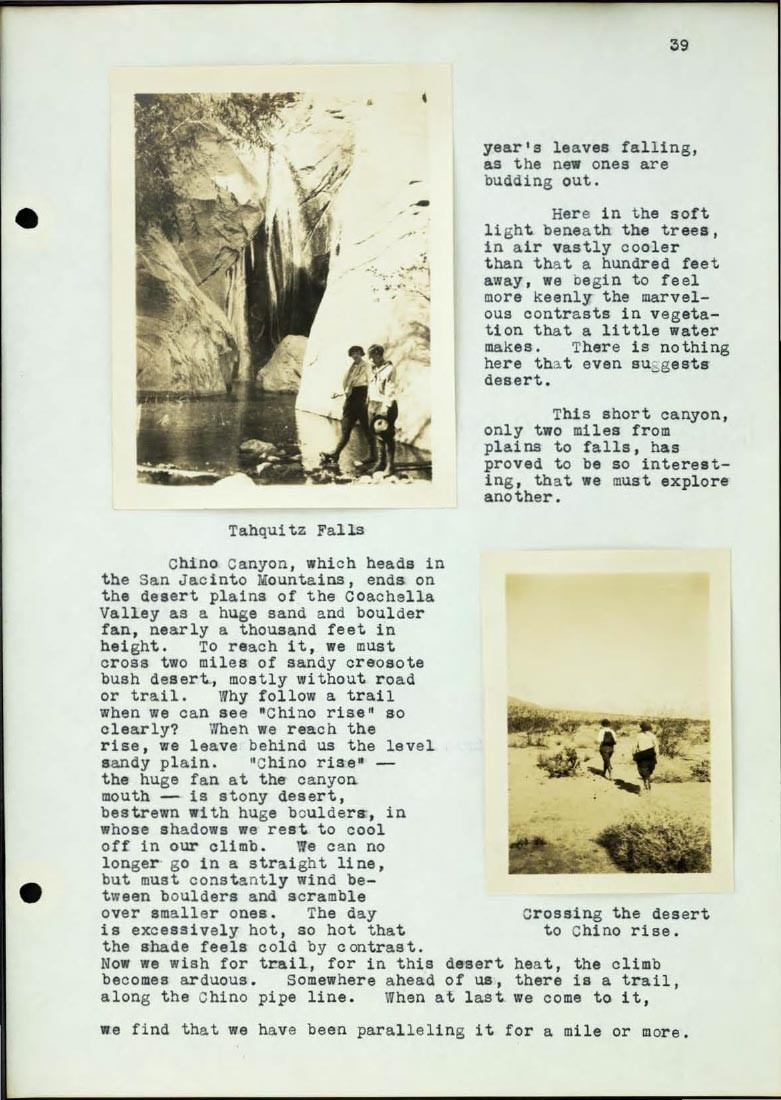 Page from Braun journal featuring images from Tahquitz Falls