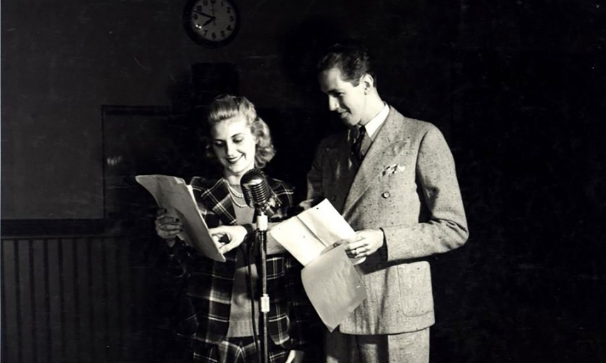 A CCM radio studio in 1955 with students Rosemary Bolte and Jack Sharp Jr. at the microphone.