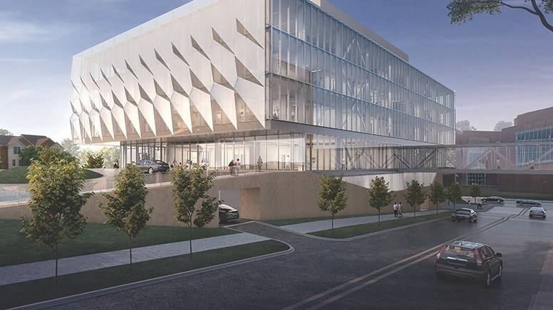 Rendering of Neurosciences building shows street and a new multi-story mostly glass building