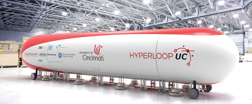 A rendering of the futuristic looking and tube-like Hyperloop prototype