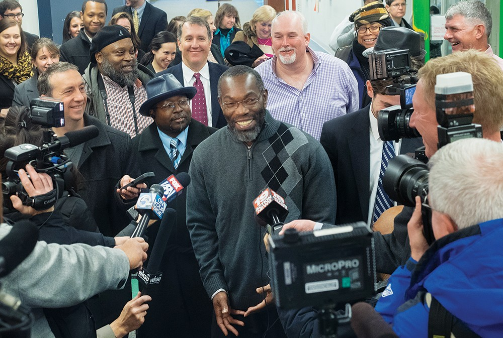 Exonoree Ricky Jackson at the time of his release from prison, surrounded by well-wishers.