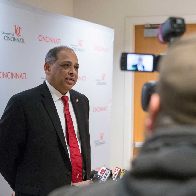 President Pinto speaks with the press