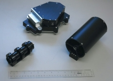 Landis' spectrometer (top) and optics will be aboard LADEE, prepared for launch in 2013 to orbit the moon and measure its surrounding dust. A 12-inch ruler shows their size.