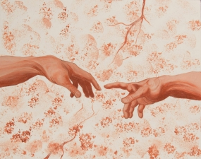 "Nancy Smith's picture of a human hand reaching for a divine one, much like Michelangelo's ""The Hands of God and Man"" in the Sistine Chapel ceiling.."