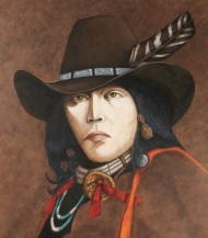 Painting of a man who resembles a cowboy and an Indian.
