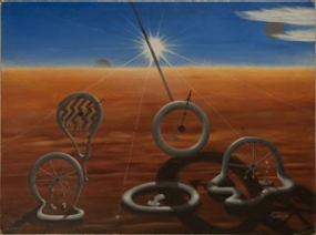 Painting contains items that look like clock faces melting in the hot sun.
