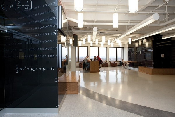 UC students sit together and study in the Alumni Engineering Learning Center at UC.