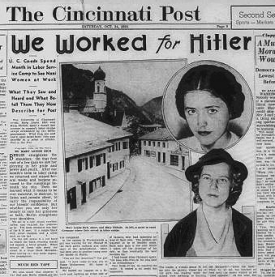 "A copy of the front page of the Cincinnati Post proclaiming ""We Worked for Hitler"""