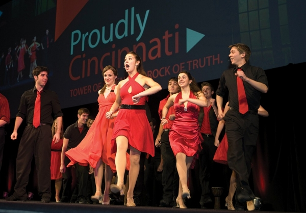CCM students dance on stage of UC's campaign kickoff in 2008.