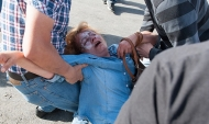A woman collapsed in the Turkey streets following a protest.