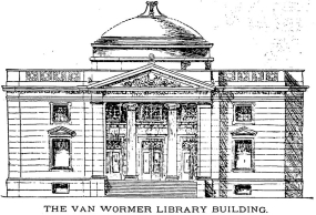 A sketch of Van Wormer Library from 1898