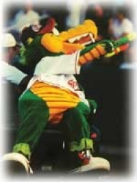 The Lowell Spinners team mascot, the Canaligator, may be the only one more enthusiastic about minor-league baseball than owners Drew and Joann Wever. Drew, BusAd '56, bought the Massachusetts team to feed his love for marketing. -- photo courtesy of Lowell Spinners