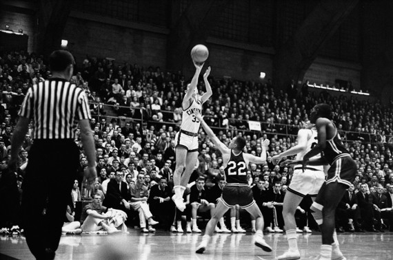 One of the most obvious differences in collegiate basketball through the years involves not the rules, but the uniforms. Modeling short shorts are players from 1964. photo/courtesy of Archives and Rare Books