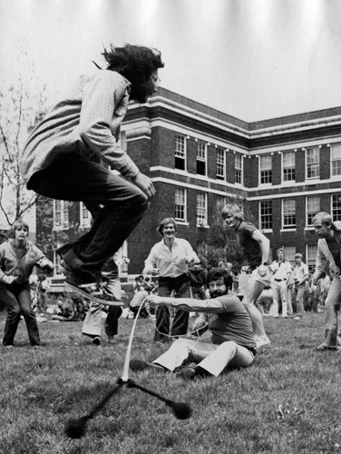 In May 1978, students celebrated President Jimmy Carter's Sun Day, an observance of solar-energy awareness, by romping in the sun in the Engineering Quad. photo/Peggy Palange