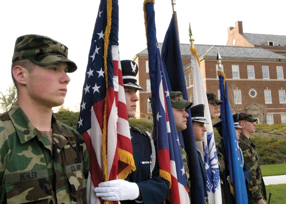 In 2004, Army and Air Force cadets attended a ceremony to dedicate the newly rebuilt Veterans Memorial Bridge, located between CCM and TUC. photo/Dottie Stover