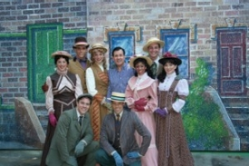 The CCM crew in ''Hello, Dolly!'' are (from the left, front row) Billy Harrigan Tighe, '07; Brandon Bieber, '07; (back row) Sara Shepherd, a senior; Kyle Brown, a senior; Stephanie Gibson, '07; director Lee Roy Reams, '64, '82; Halle Morse, a junior; Sean Montgomery, '07; and Dana Domenick, '07, who played Ermengarde.