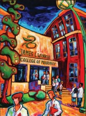 James Winkle received this painting by pharmacy emeritus professor Wolfgang Ritschel to honor his $10 million gift to the College of Pharmacy.