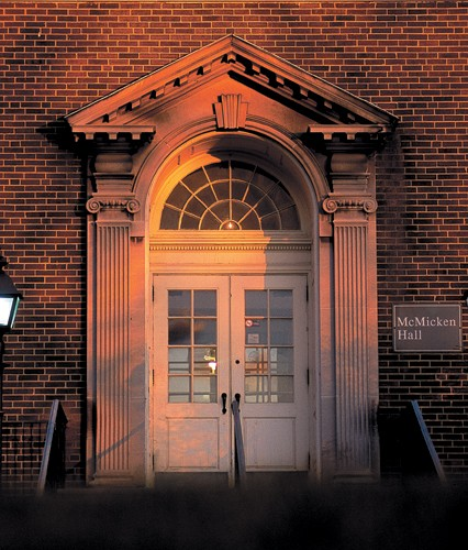 Though much of campus is covered by contemporary buildings, UC has preserved its architectural connection to its past. Here, the sun sets on the north entrance to McMicken Hall, perhaps the most recognized and frequented academic building on campus.