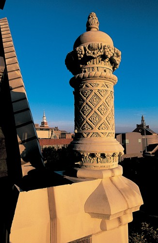 A rooftop corner of Memorial Hall displays a chimney pot with the kind of Moorish-Islamic influences often seen in mosque minarets.